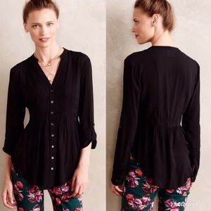 Maeve for Anthropologie Peplum Tunic In Black